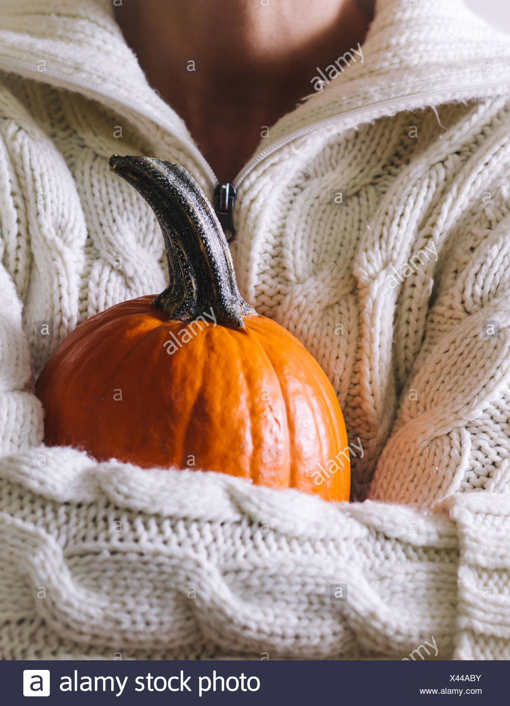 Midsection Of Person Holding Pumpkin Stock Photo