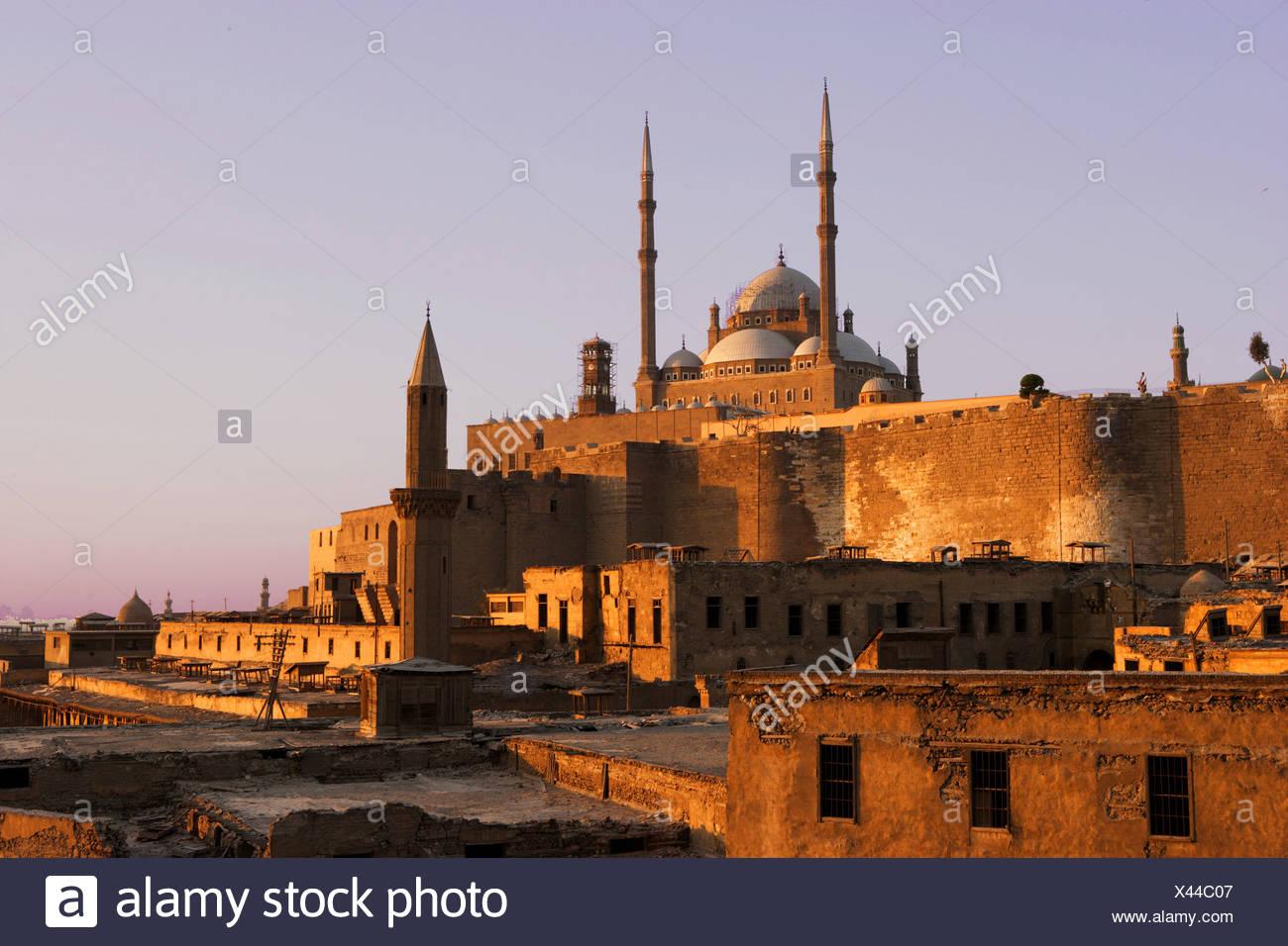 Egypt North Africa Cairo Muhammad Ali mosque alabaster mosque dusk twilight - Stock Image