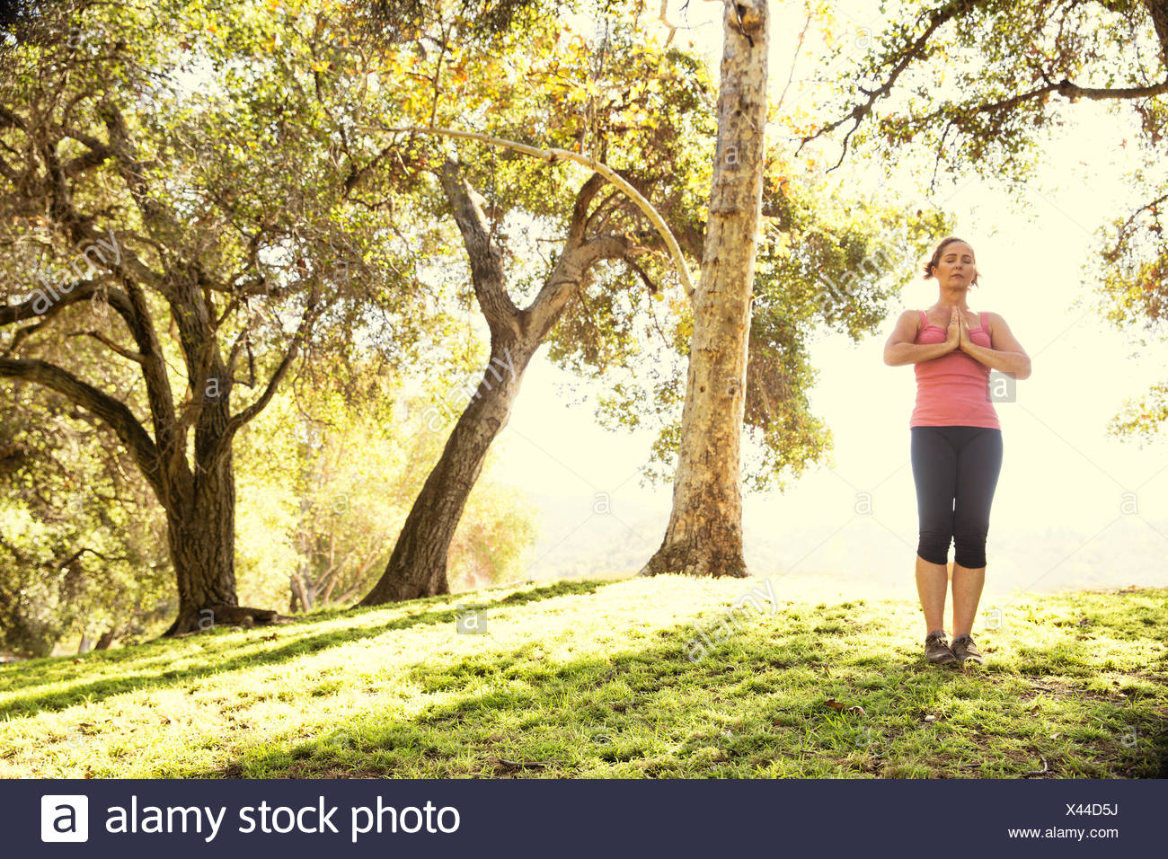 Mature woman in park practicing yoga Stock Photo