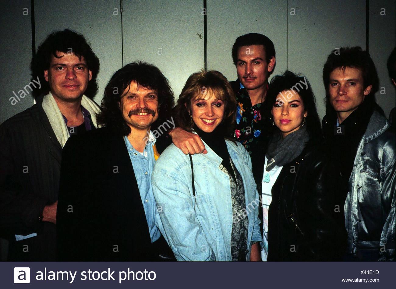 Genghis Khan (Dschinghis Khan), German pop group, group picture, early 1980s, Leslie Mandoki, Henriette Heichel, Edina Pop, Stev Stock Photo