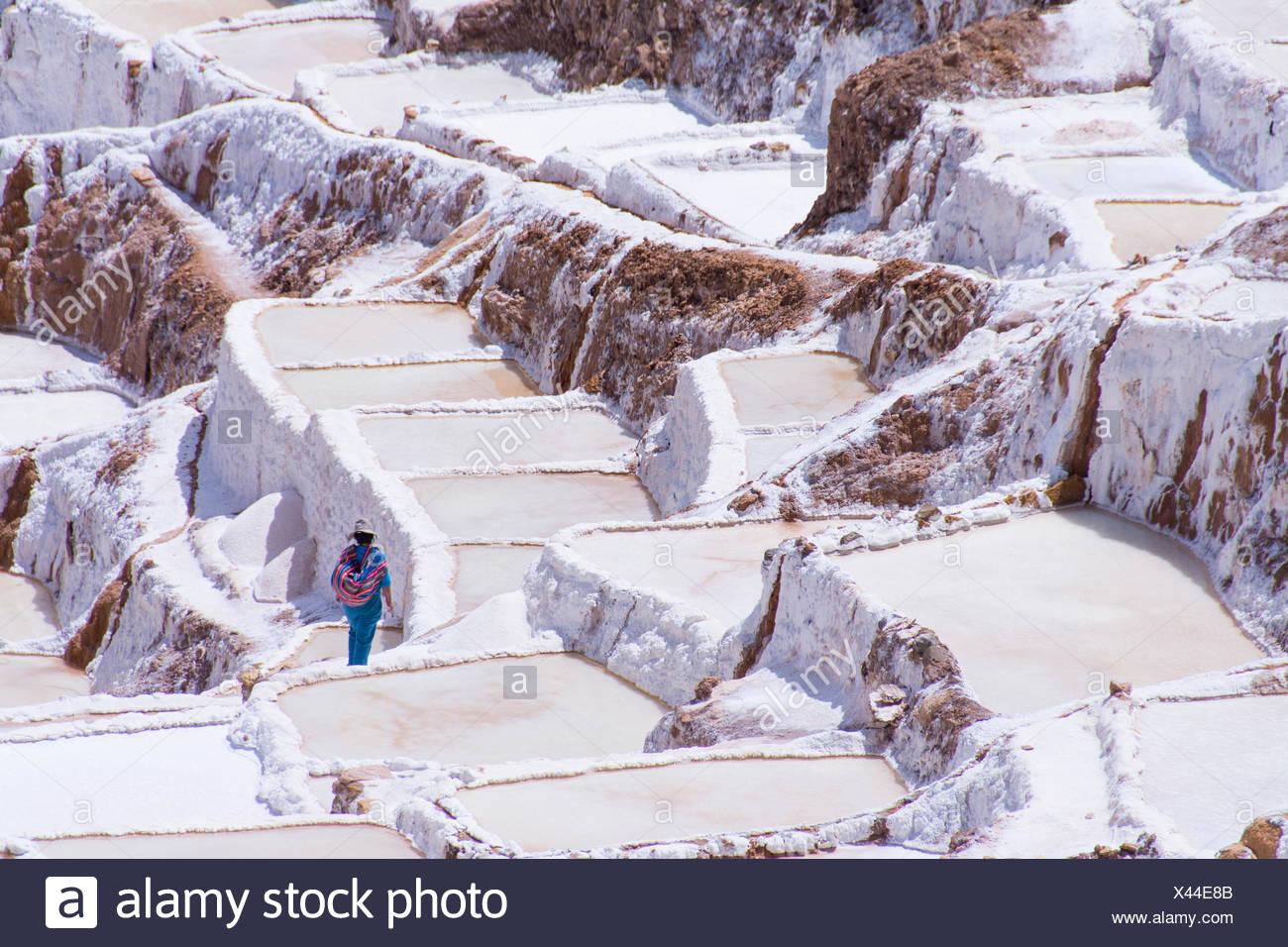 Salt pond mines of Maras, 40kilometers north of Cuzco, in the Cuzco Region of Peru - Stock Image