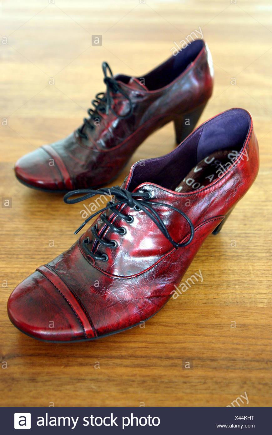 heel timber flooring stand shoe walk go going walking macro close-up macro Stock Photo