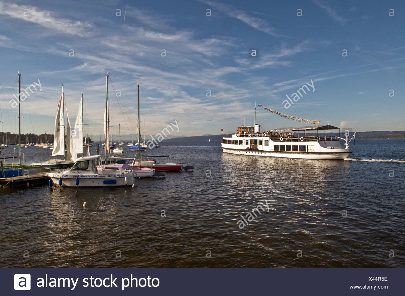 Steamer Utting casting off, Lake Ammersee, Bavaria, Germany, Europe Stock Photo