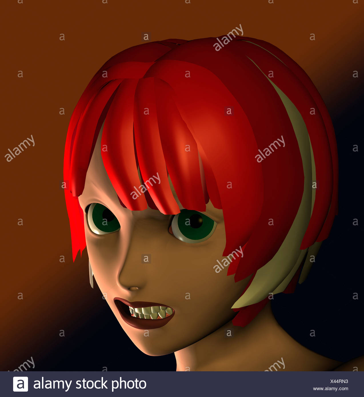 Computer Illustration Of Young Woman Looking Angry - Stock Image