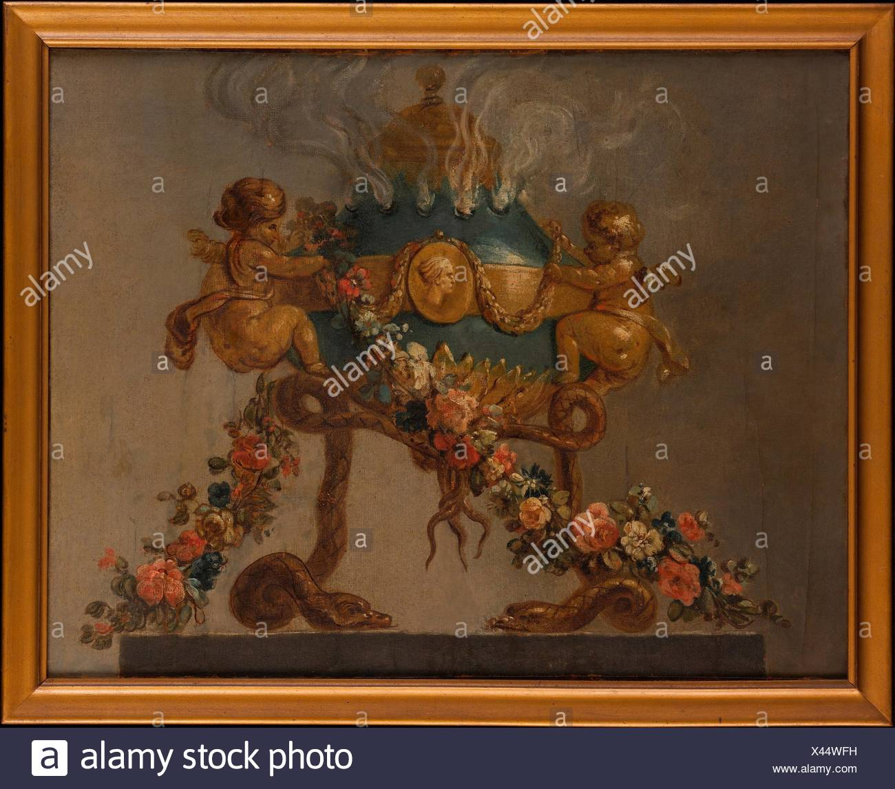 Perfume-burner supported by amorini and serpents and garlanded with flowers. Artist: French Painter , 18th century; Date: 18th century; Culture: - Stock Image