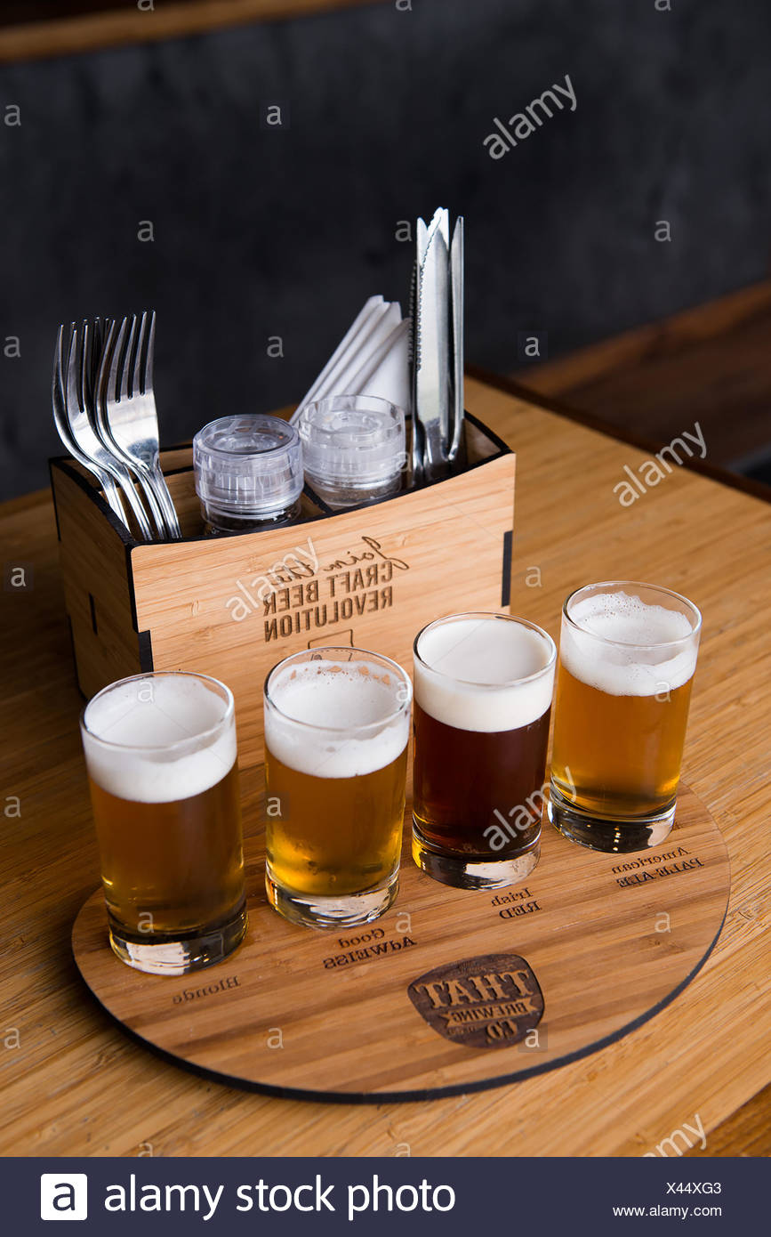 Microbrews at Unity Bar & Brasserie. - Stock Image