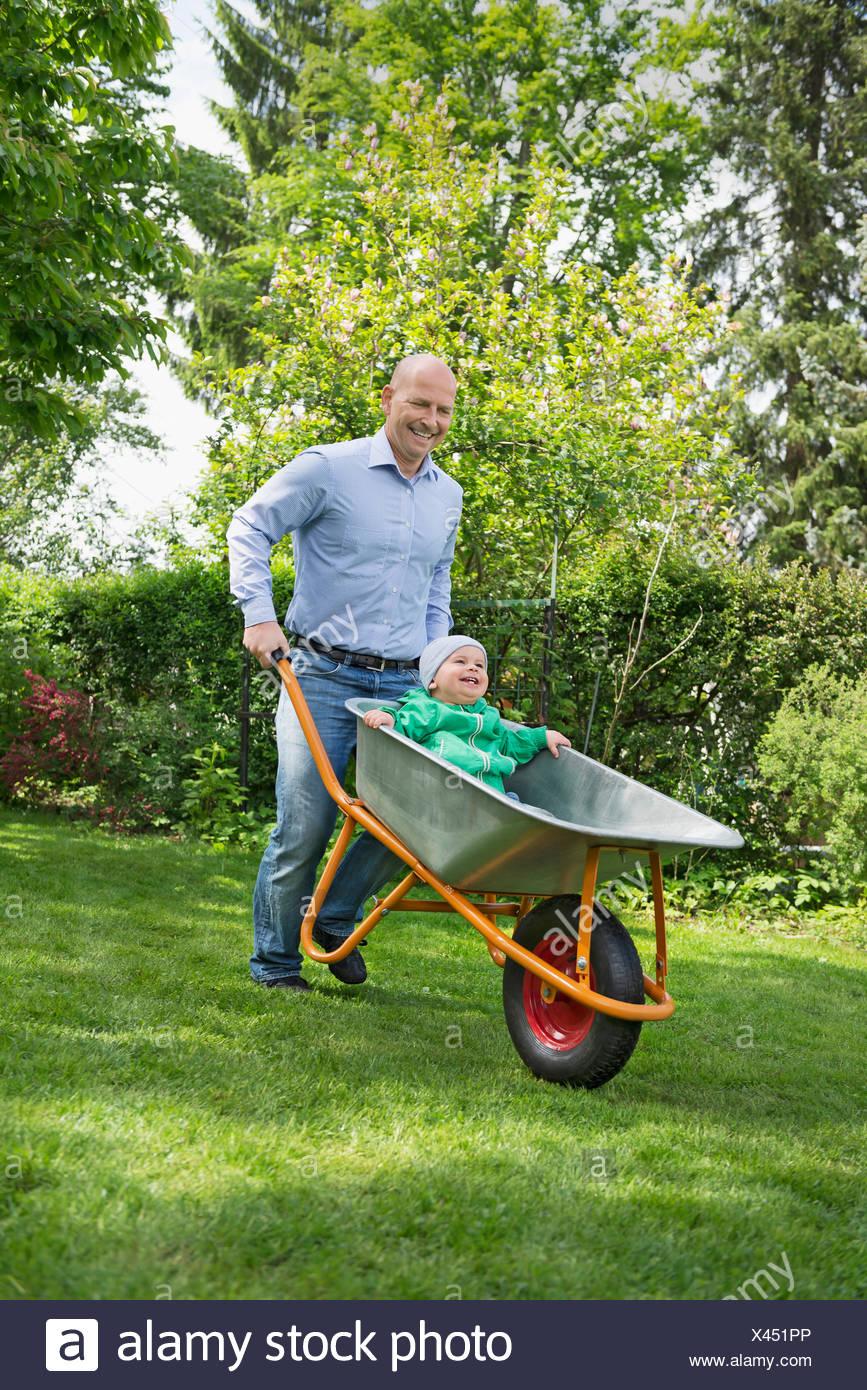 Father Pushing Baby Son In Wheelbarrow Garden Stock Photo