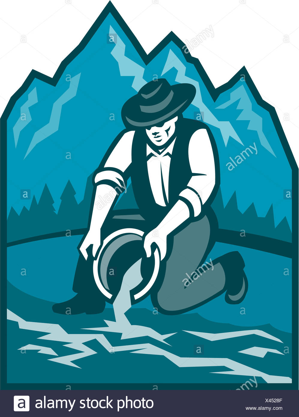 Gold Prospector Miner Pan Retro - Stock Image