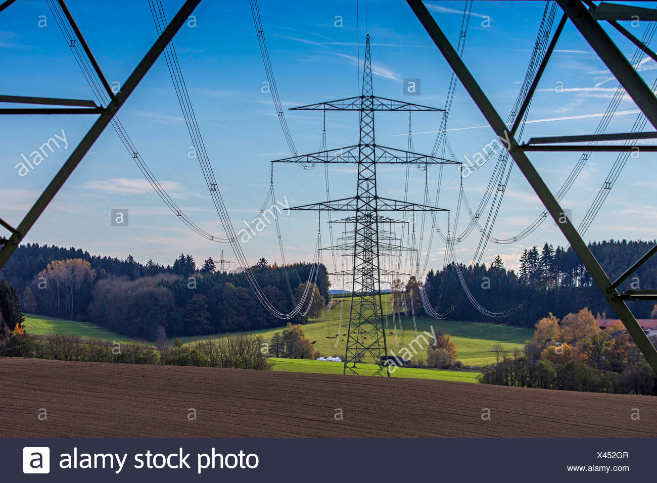 power pole in the pre-Alps 230 KV tension lines, Germany, Bavaria - Stock Image