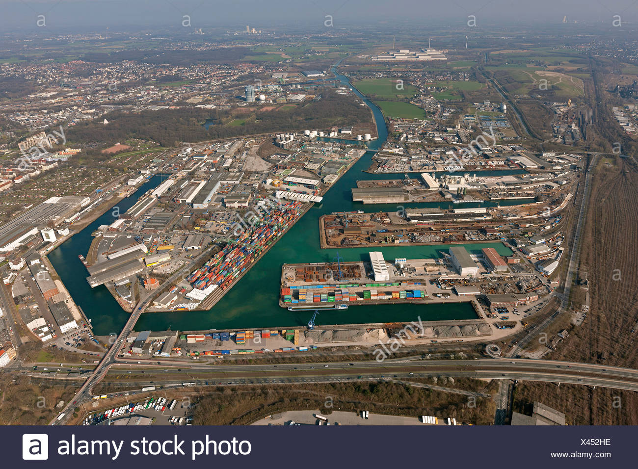 Aerial view, Dortmund harbour, Dortmund-Ems Canal, inland shipping, container terminal, Dortmund, Ruhr area - Stock Image