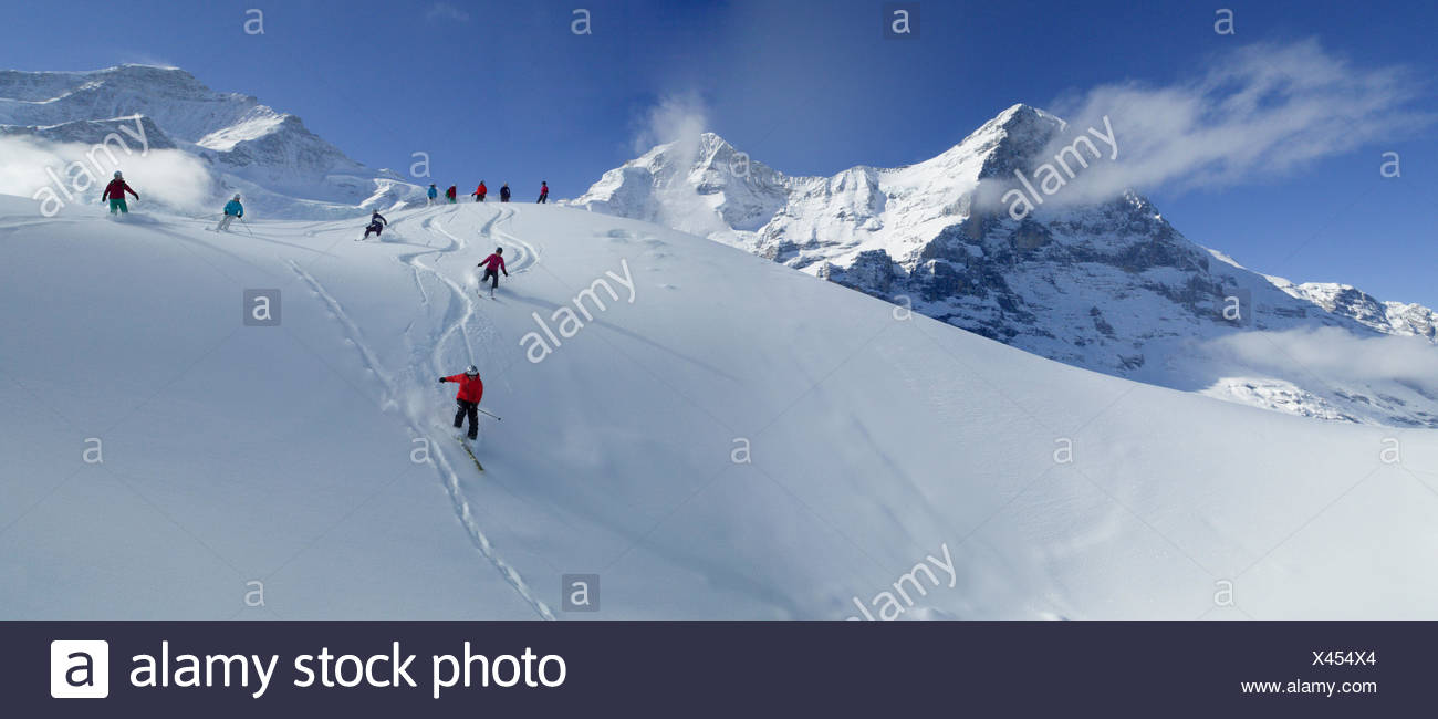 Ski, skiing, Kleine Scheidegg, Eiger, monk, Mönch, Jungfrau, mountain, mountains, ski, skiing, Carving, winter, winter sports, c - Stock Image