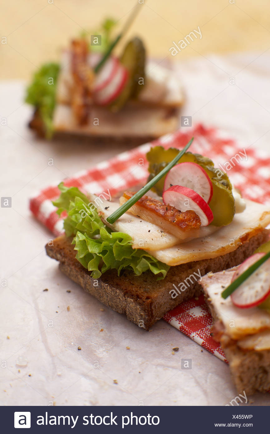 Sandwich with roast pork, crust, radish and chives, elevated view - Stock Image