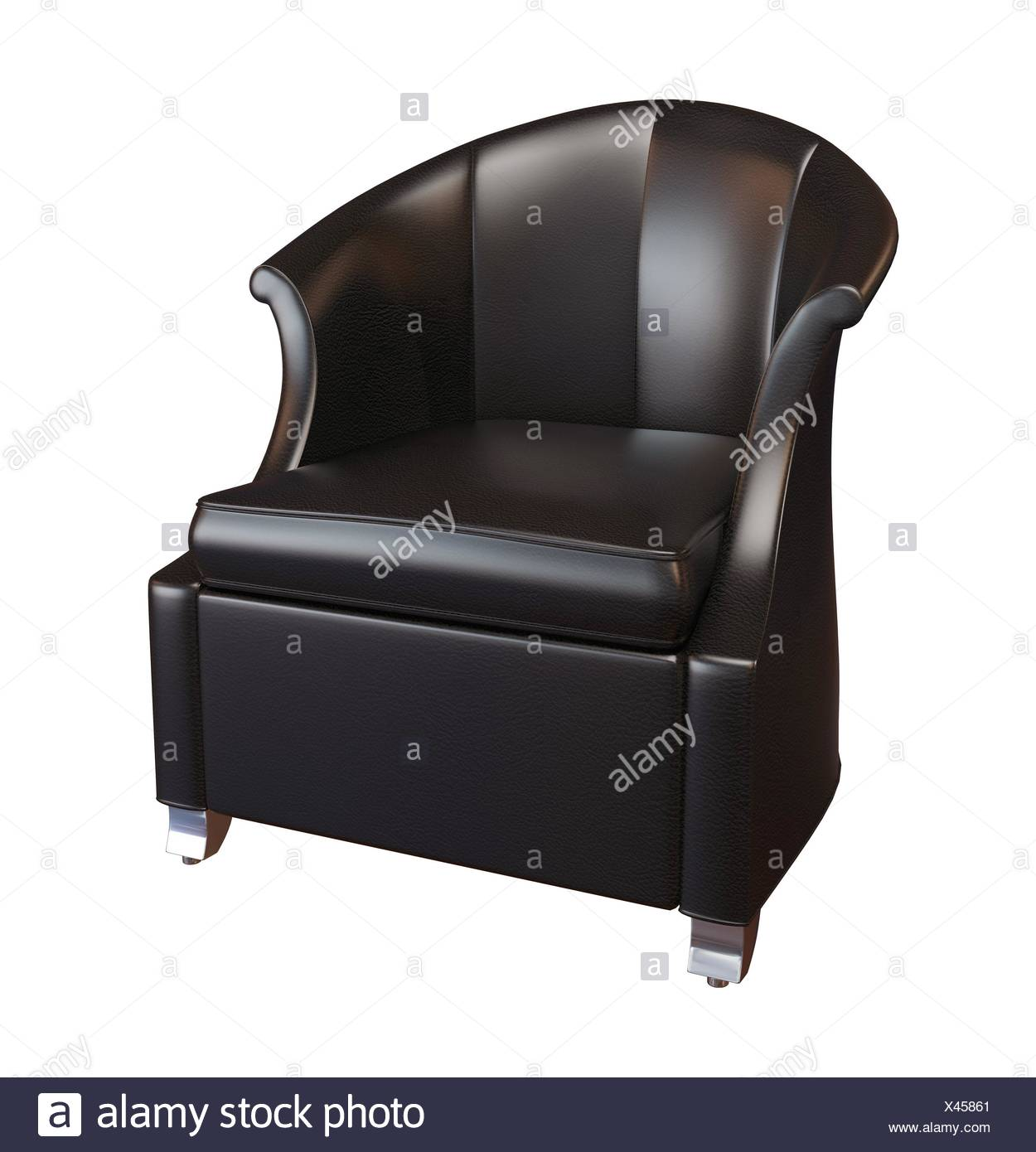3D photorealistic image of a black leather comfy armchair, isolated against a white background - Stock Image