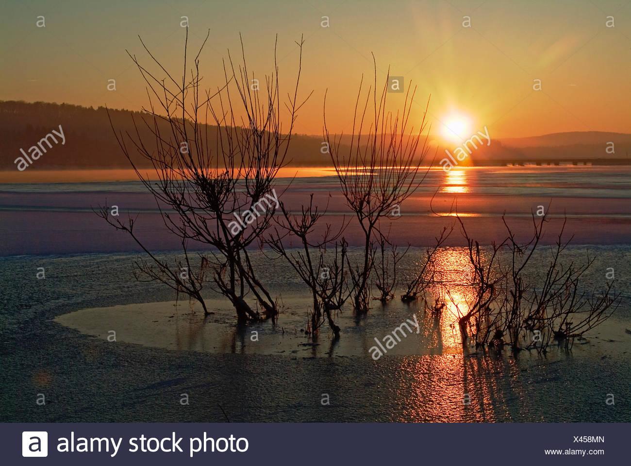 sunset mood ice colour orange colors colours shine shines bright lucent light Stock Photo