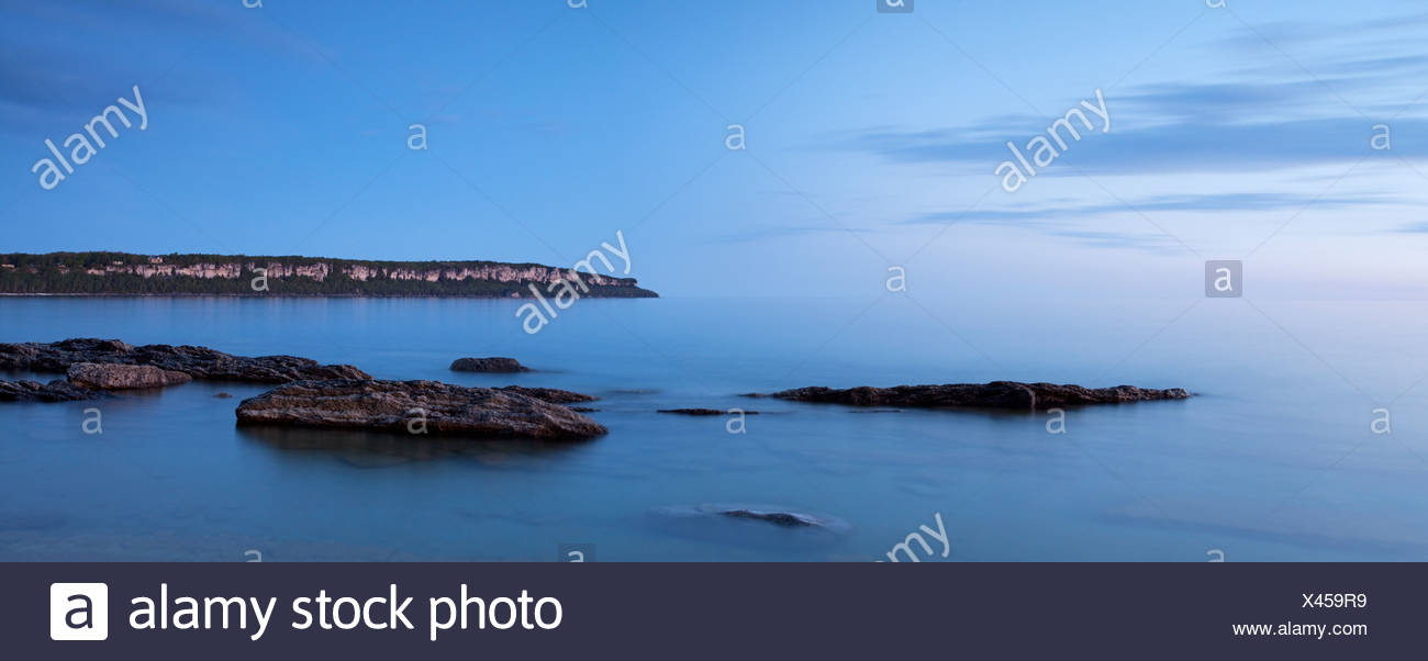 A panoramic view of twilight at Lion's Head in Georgian Bay, on the Bruce Peninsula, Ontario. - Stock Image