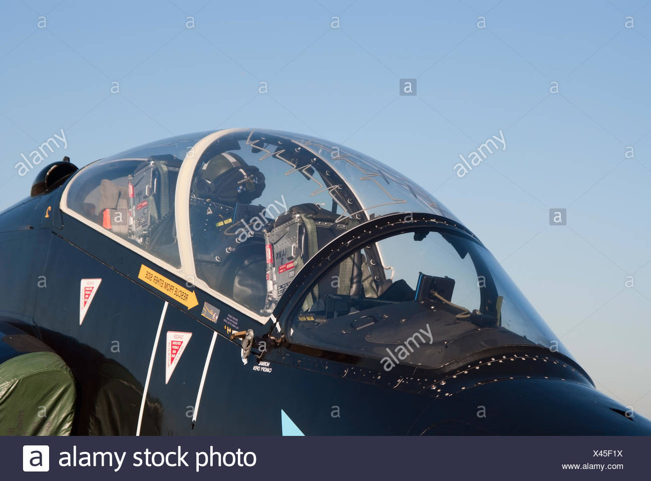 Closeup of the cockpit of BAe Hawk jet - Stock Image