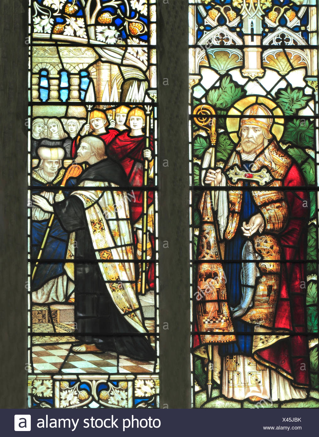 St. Wilfrid, Bishop of Northumbria and Archbishop Theodore of Canterbury, stained glass window by J. Powell & Son, 1900 - Stock Image