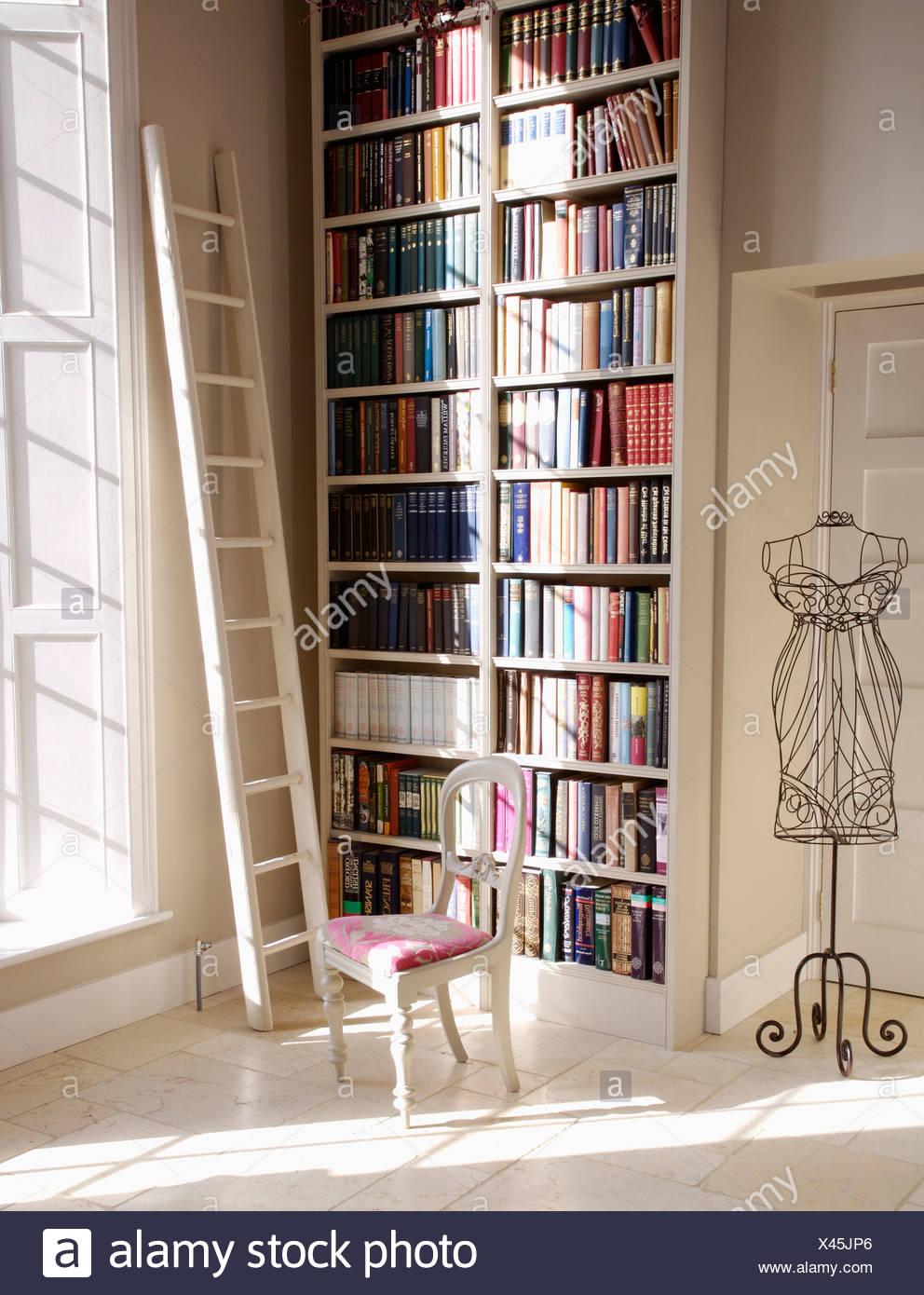 White Ladder Beside Floor To Ceiling Bookshelves In Hall