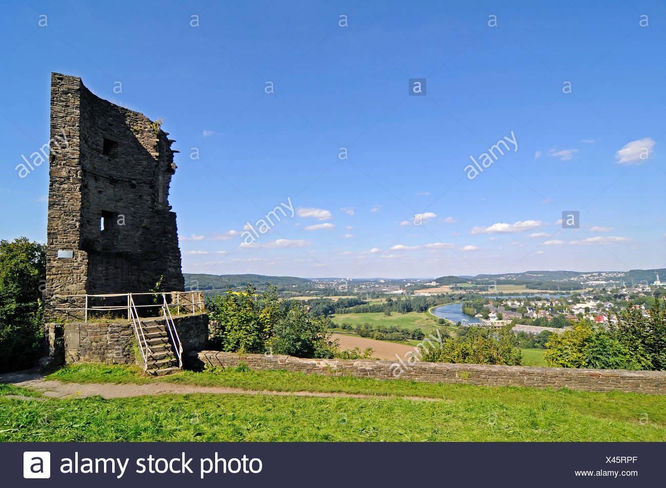 View from Burg Volmarstein Castle, castle ruins, Wetter an der Ruhr, Ruhr Valley, Herdecke, Hagen, North Rhine-Westphalia - Stock Image