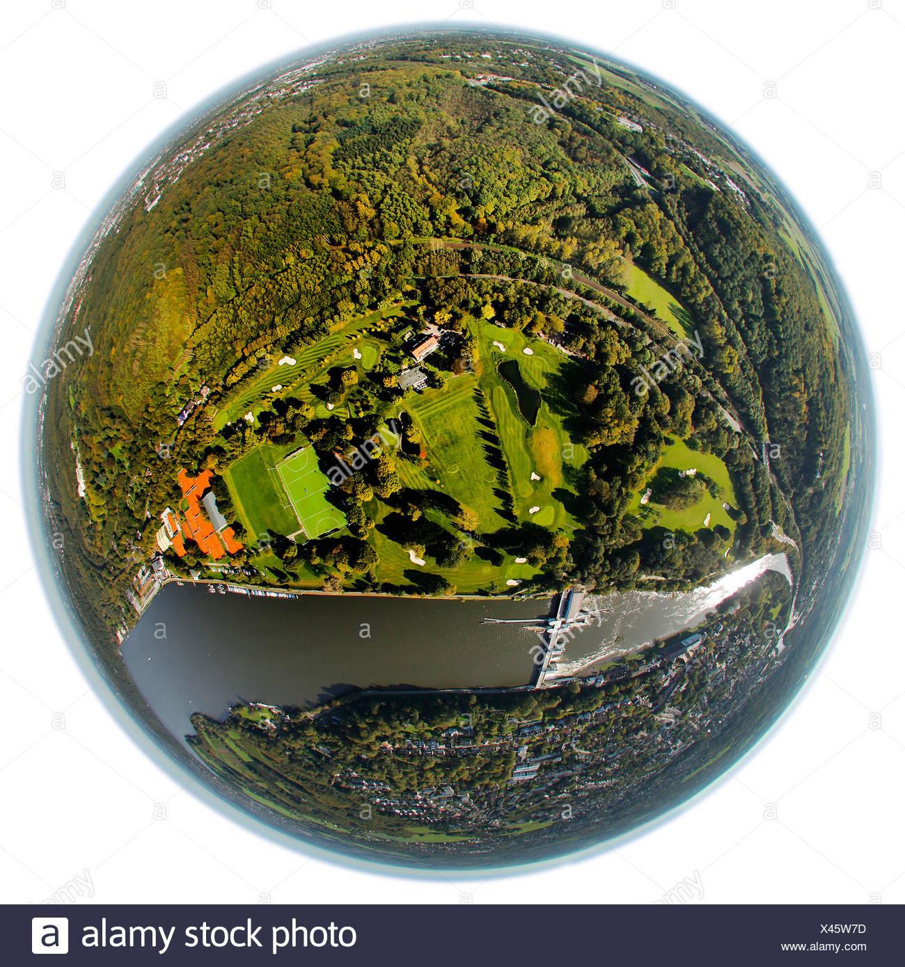 Aerial view, fisheye shot, golf course at Baldeneysee, Lake Baldeney, Ruhr river, Essen-Werden, Essen, Ruhr Area - Stock Image