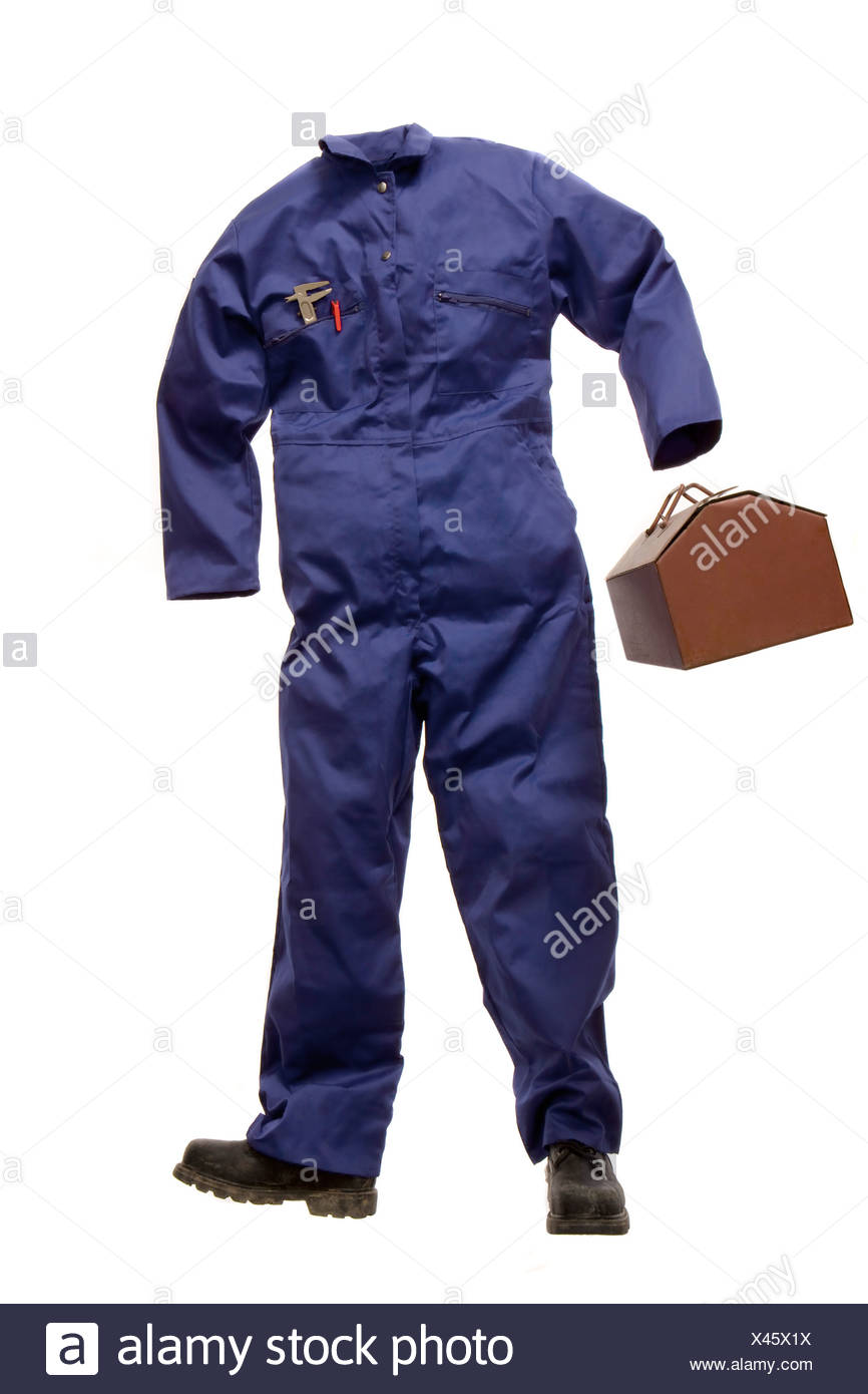 A Workman's suit with tool box - Stock Image