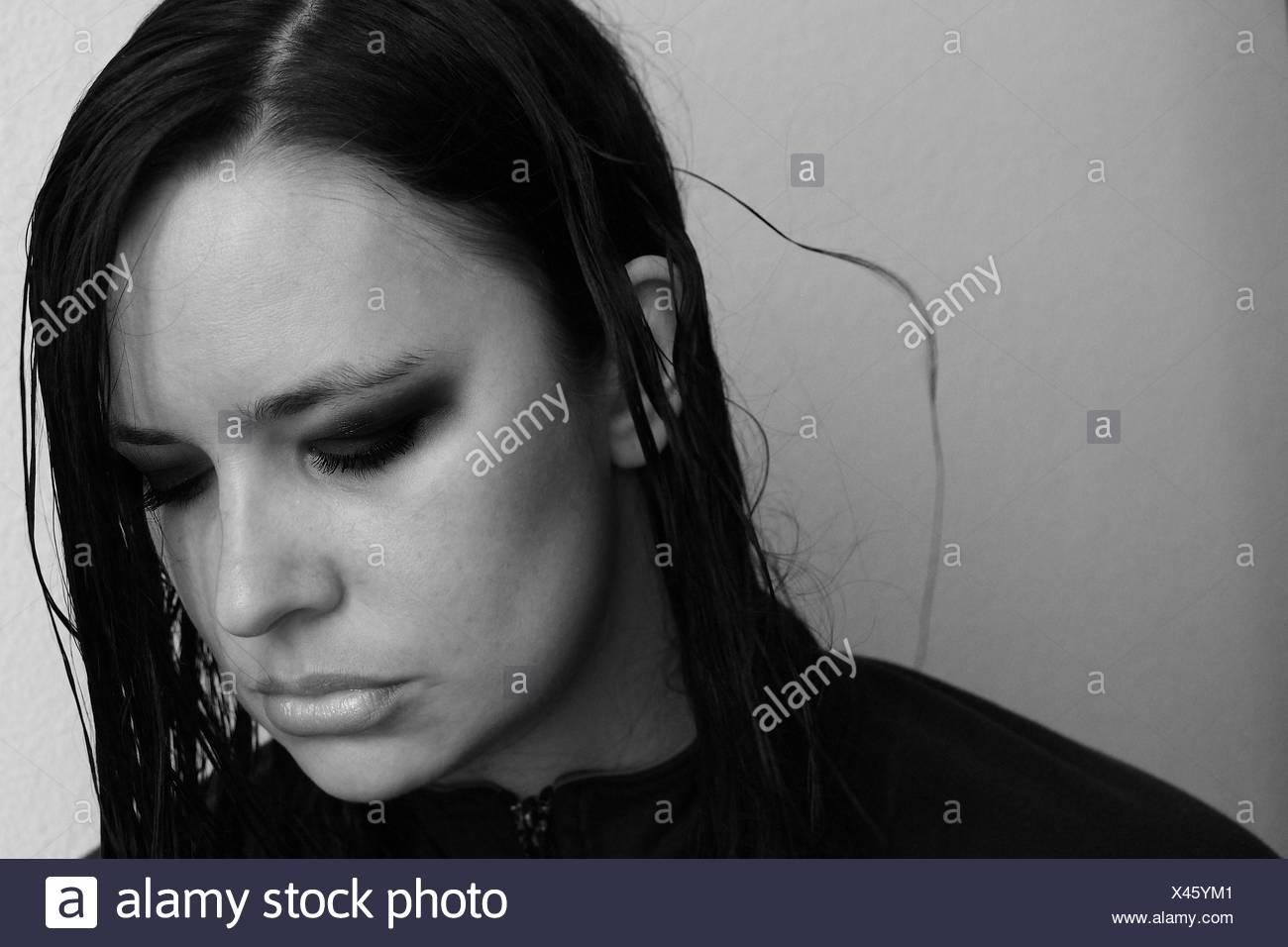 Woman Looking Away - Stock Image