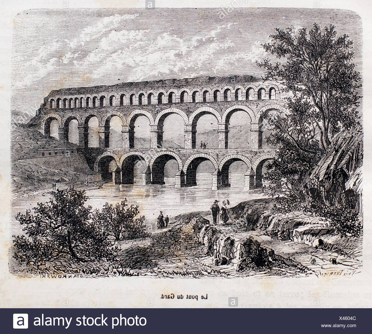France, History- ´Le pond du Gard´ -The Pont du Gard is a notable ancient Roman aqueduct bridge that crosses the Gard River in - Stock Image