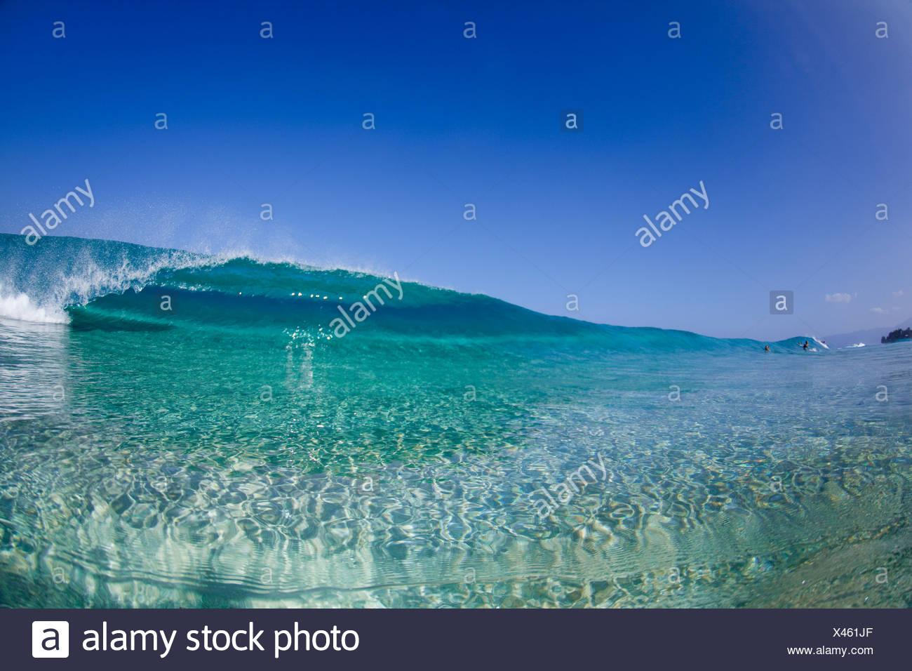 A water view of a tubing wave at Ehukai beach park. - Stock Image