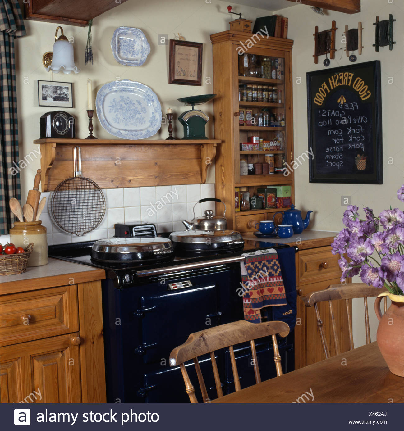 Blue Cottage Kitchen Cabinets: Small Country Kitchens Domestic Stock Photos & Small