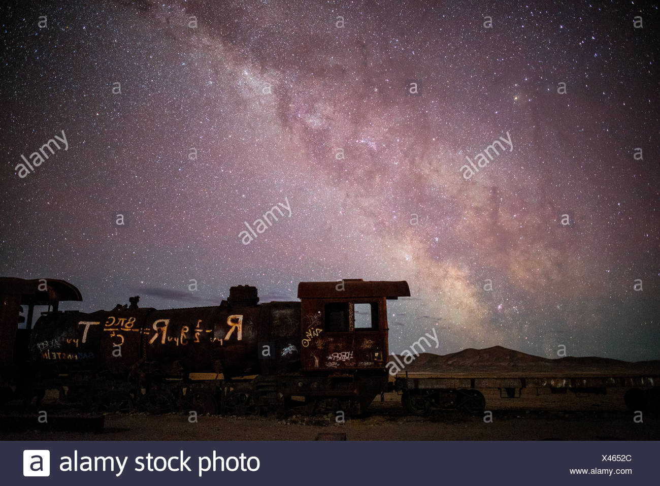Einstein's Theory of General Relativity written on an old locomotive. The Milky Way overhead. - Stock Image