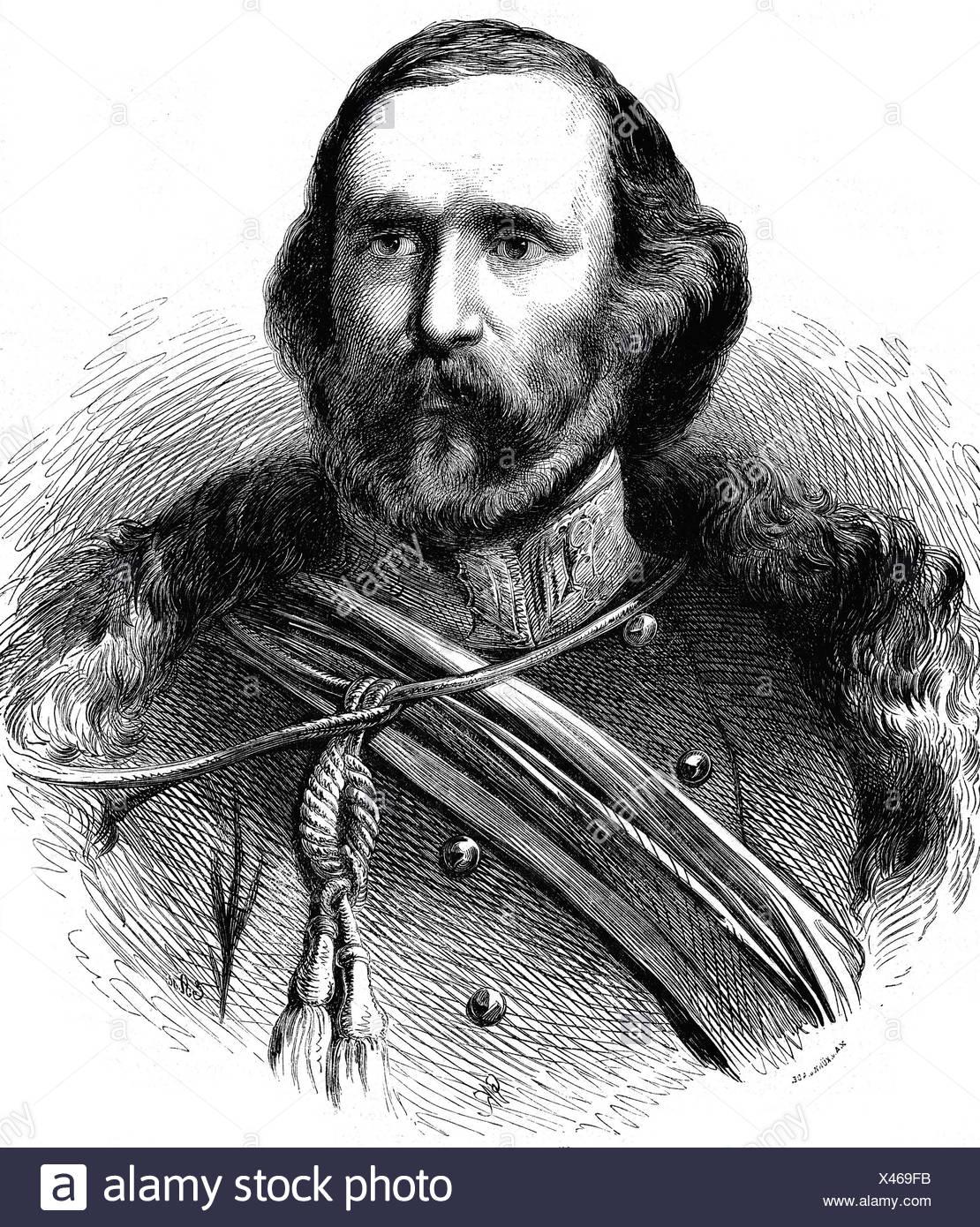 Garibaldi, Giuseppe, 4.7.1807 - 2.6.1882, Italian revolutionary, portrait, engraving, 1868, freedom fighter, patriot, Risorgimento, politics, uniform, , Additional-Rights-Clearances-NA - Stock Image