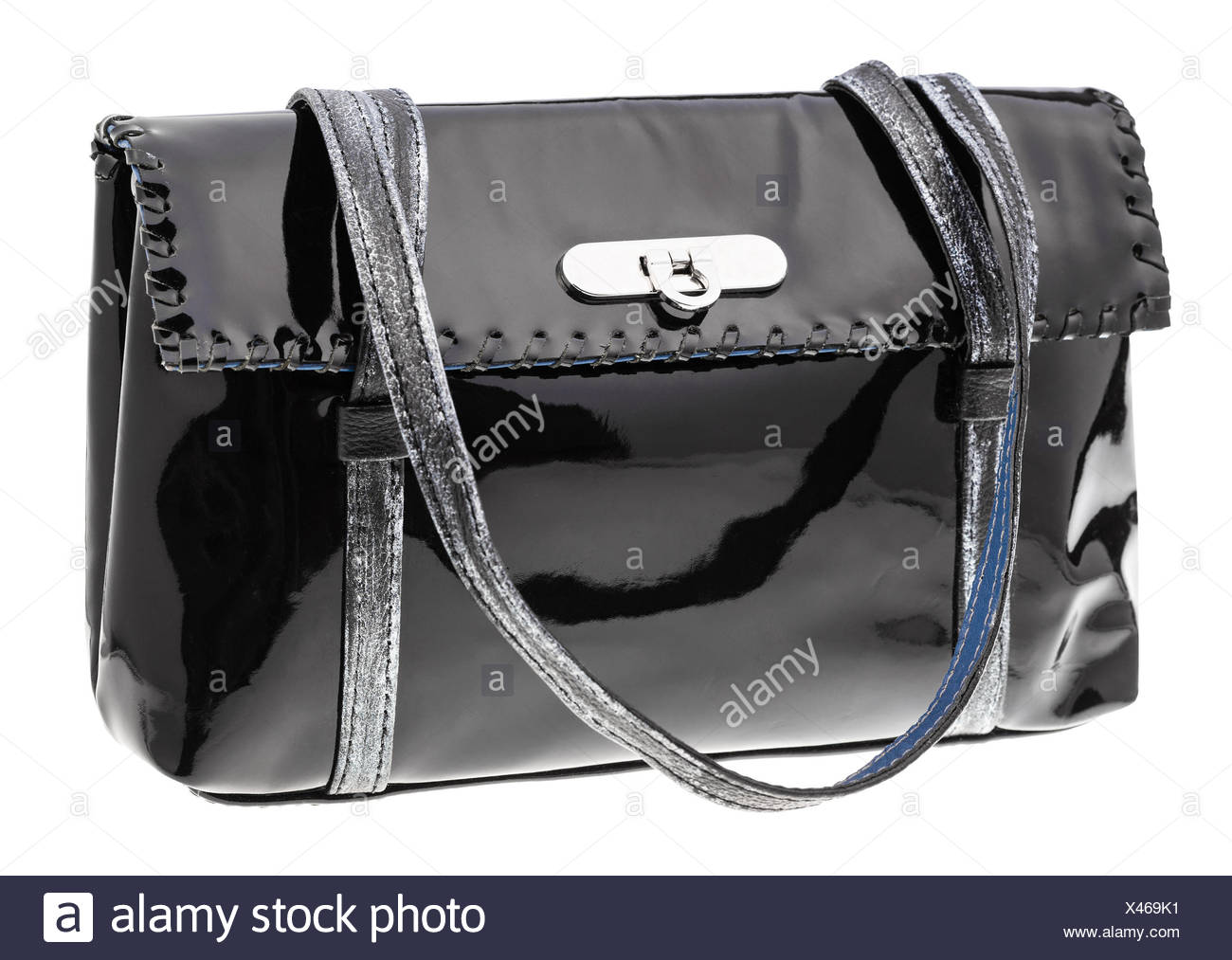 fb22b6b321b0 Black Patent Leather Handbag Stock Photos   Black Patent Leather ...
