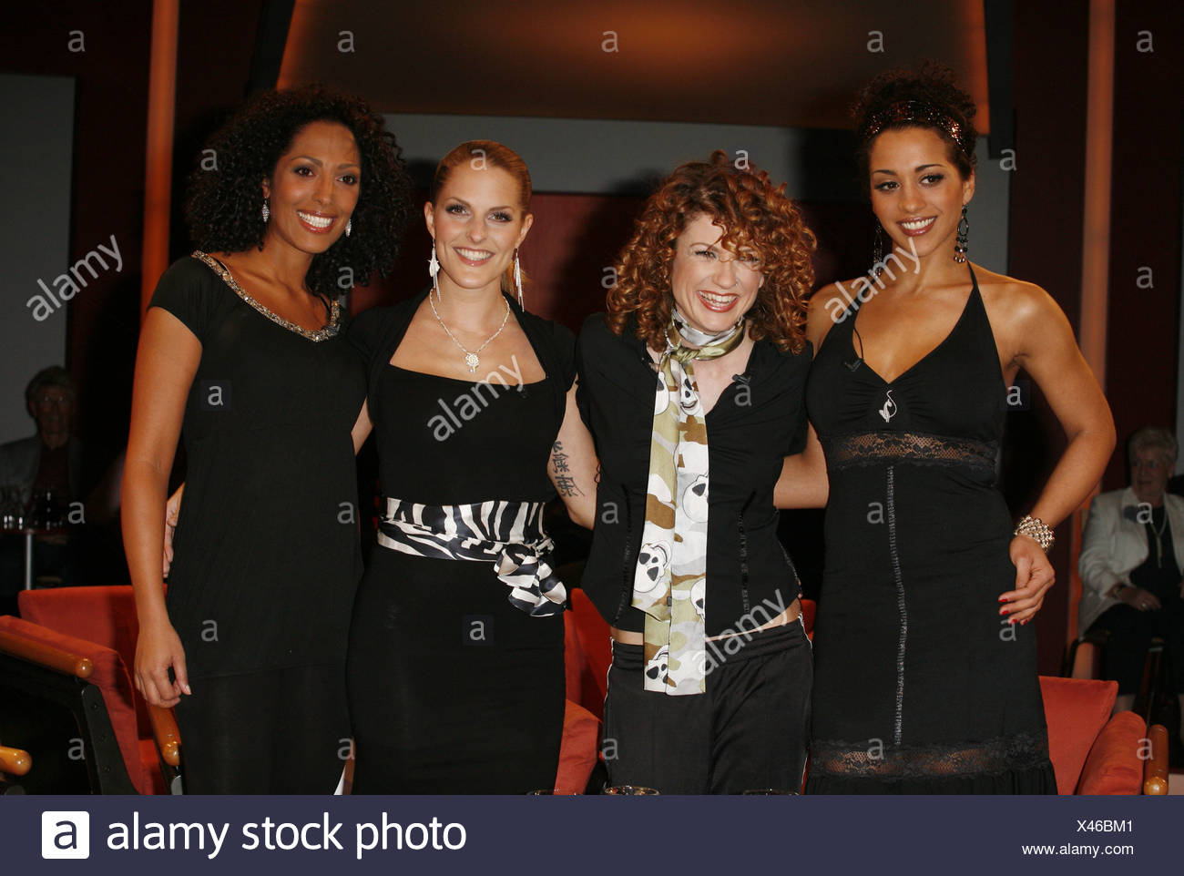 "No Angels, German pop group (pop music), founded: 2001, members: Nadja Benaissa, Ludmila Diakovska, Sandy Mölling, Jessica Wahls, half length, guests at TV show ""NDR Talk Show"", 5.4.2007, Additional-Rights-Clearances-NA Stock Photo"