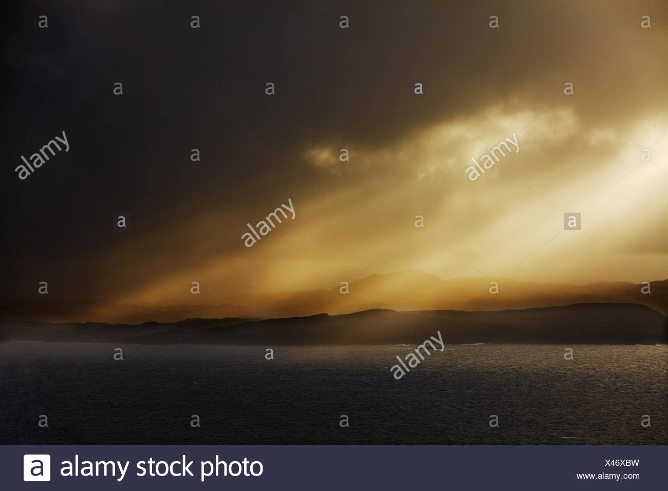 Stormy light and clouds at Horn Head. - Stock Image