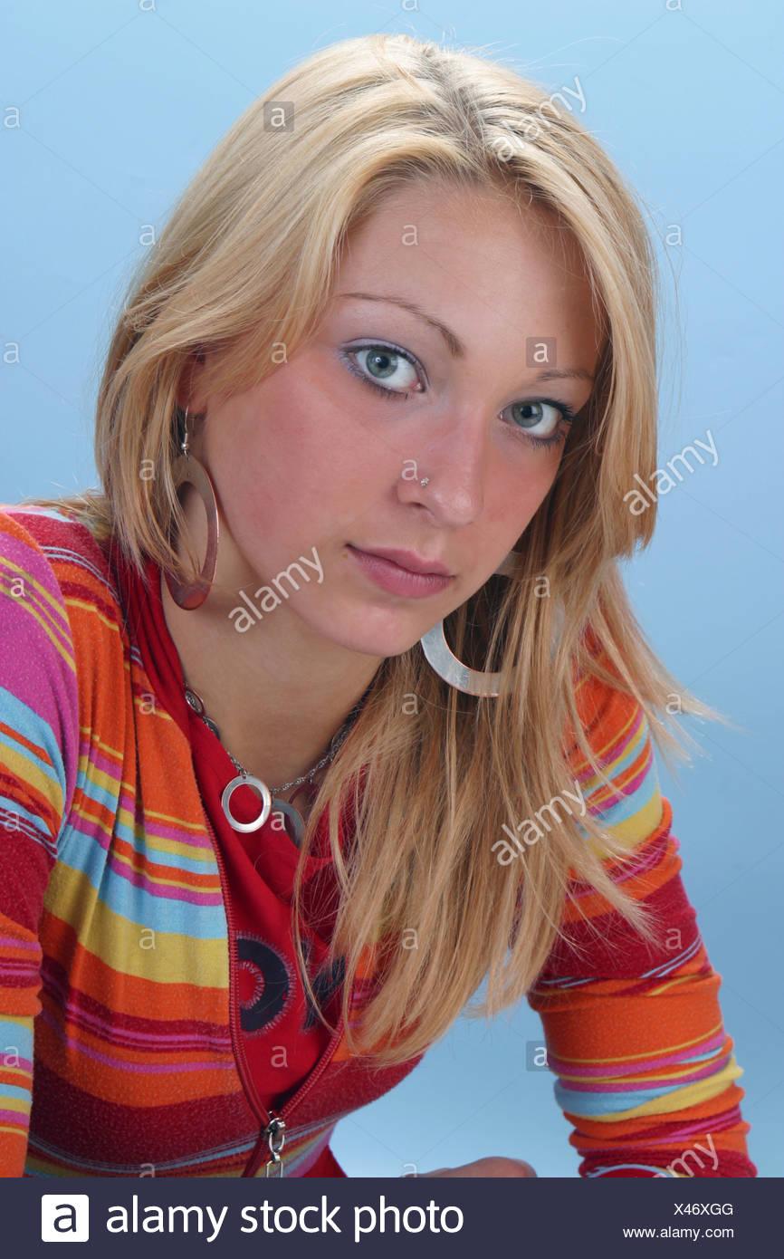 Serious portrait teen girl , depressed teen - Stock Image