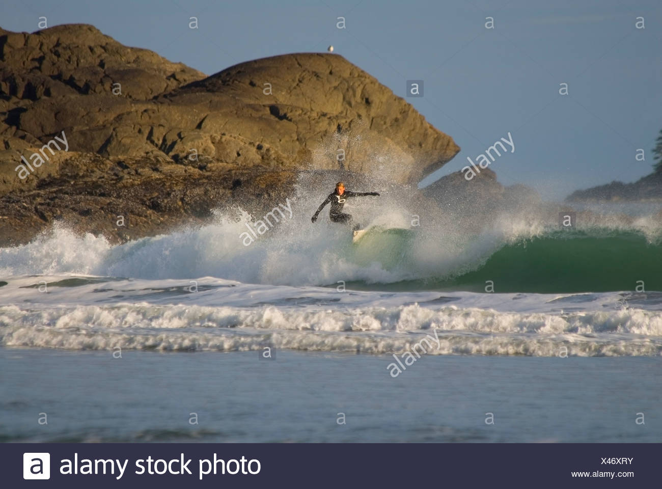 A surfer challenges the breakers at Cox Bay, near Tofino, on the west coast of Vancouver Island, British Columbia, Canada. - Stock Image