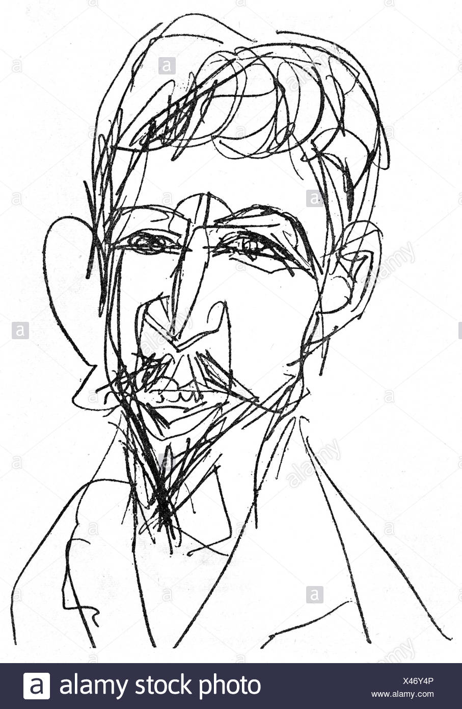 Doeblin, Alfred, 10.8.1878 - 26.6.1957, German author / writer, portrait, drawing by Ernst Ludwig Kirchner, 1913, , Additional-Rights-Clearances-NA - Stock Image