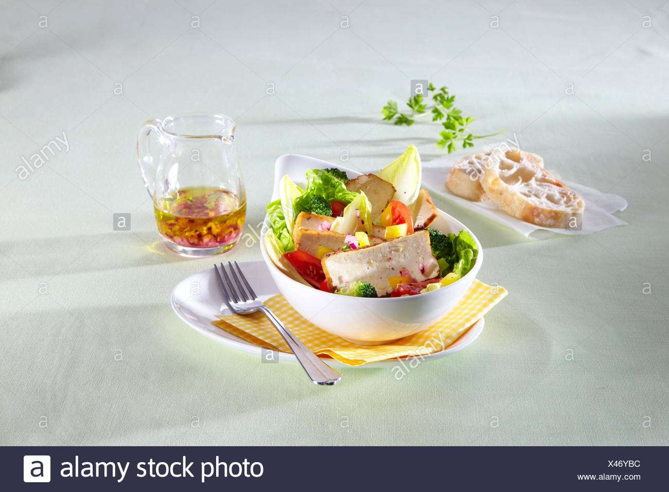 Salad with smoked tofu - Stock Image