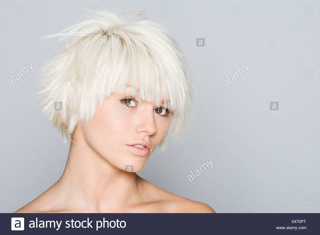 Portrait of a woman with blonde hair - Stock Image