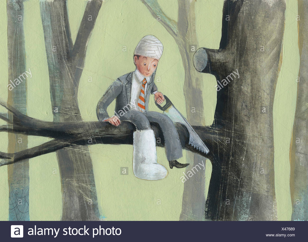 Foolish injured businessman sawing through the branch he is sitting on - Stock Image