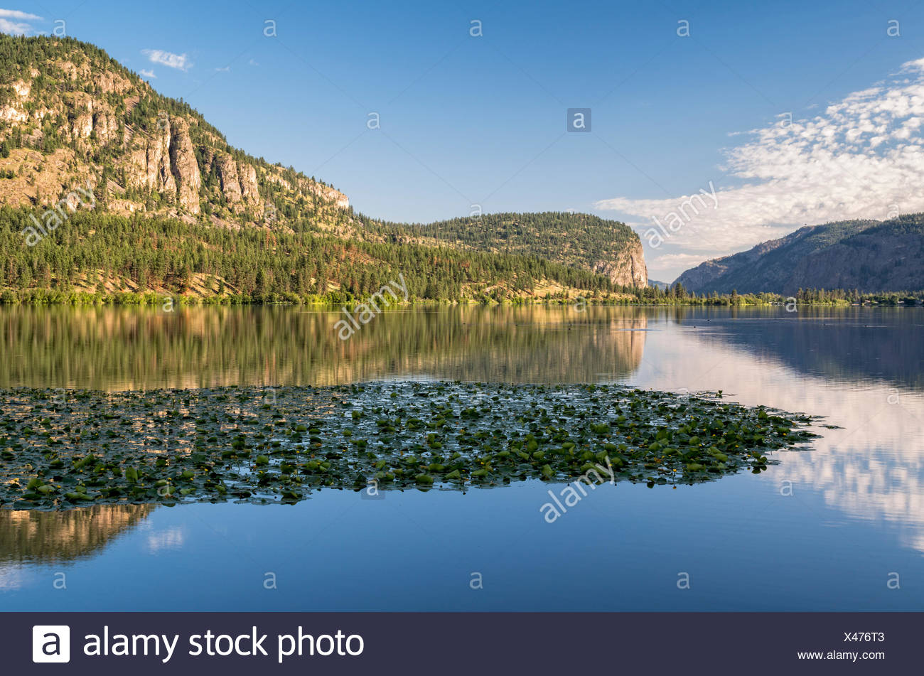 Vaseux Lake and McIntyre Bluff near Oliver, British Columbia, Canada. - Stock Image