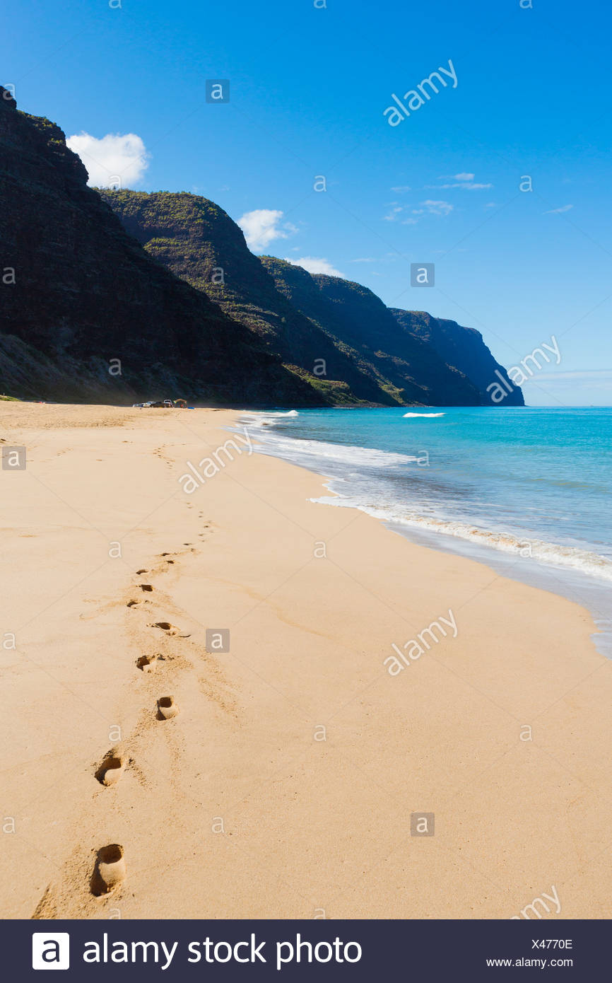 Hawaii, Kauai, Polihale Beach, Footprints in sand. Stock Photo