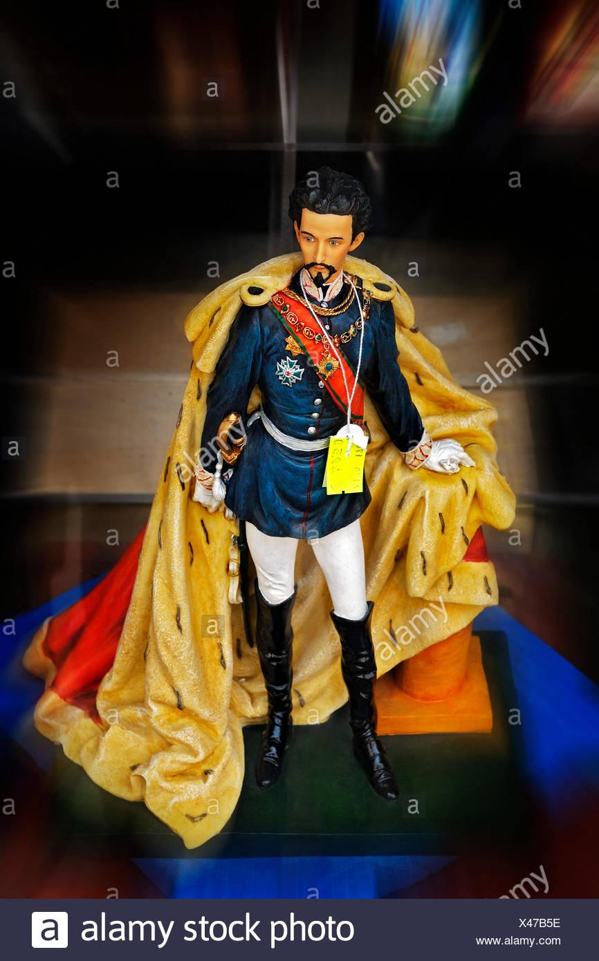 Plastic figure, Bavarian King Ludwig II, Haidhausen, Munich, Upper Bavaria, Bavaria, Germany - Stock Image