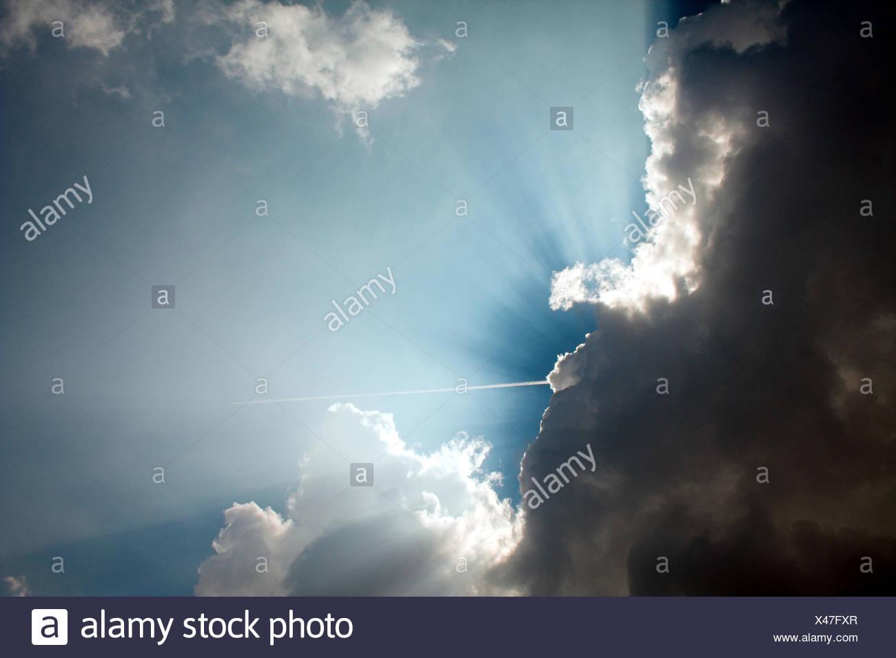 sunbeam,cloudscape - Stock Image