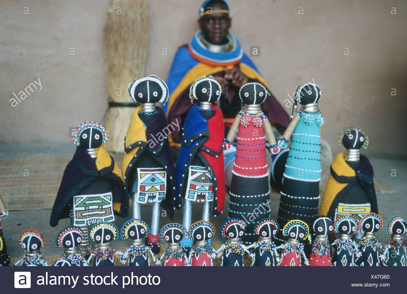 Traditional bead-work dolls, Northwest Province, South Africa - Stock Image