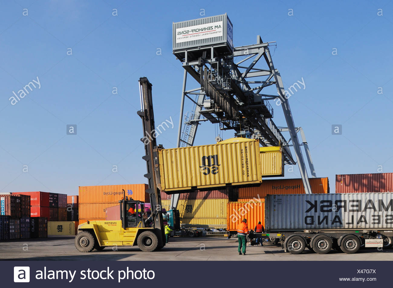 Bonn container terminal, container handling, reach stacker drives a container to a truck, container bridge repositioning a cont - Stock Image