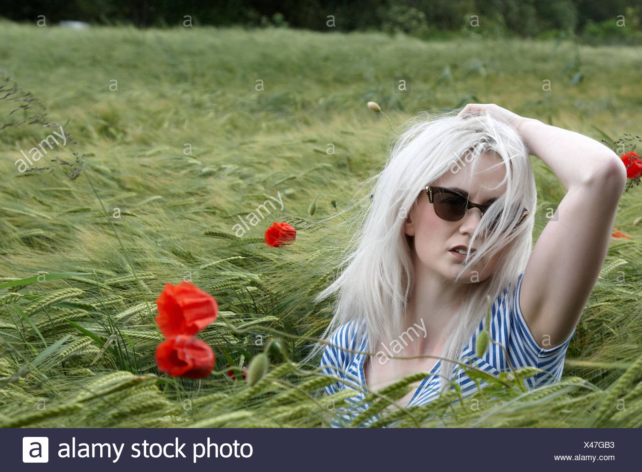 female, blonde, dapper, accosting, pretty, prettily, prettier, ravishing, - Stock Image