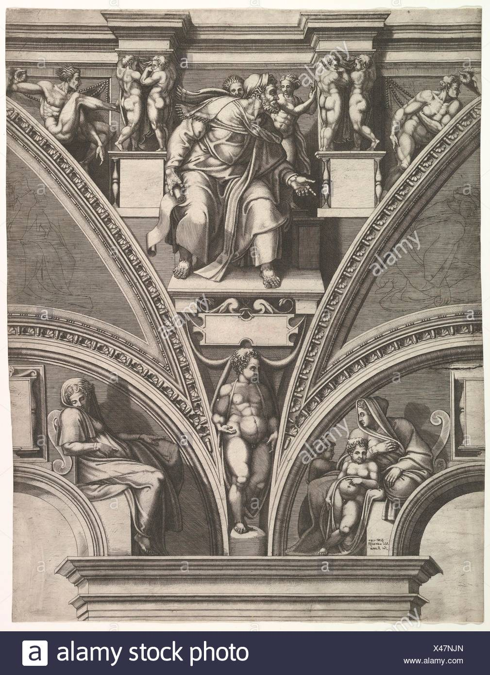 The Prophet Ezekiel; from the series of Prophets and Sibyls in the Sistine Chapel. Artist: Giorgio Ghisi (Italian, Mantua ca. 1520-1582 Mantua); - Stock Image