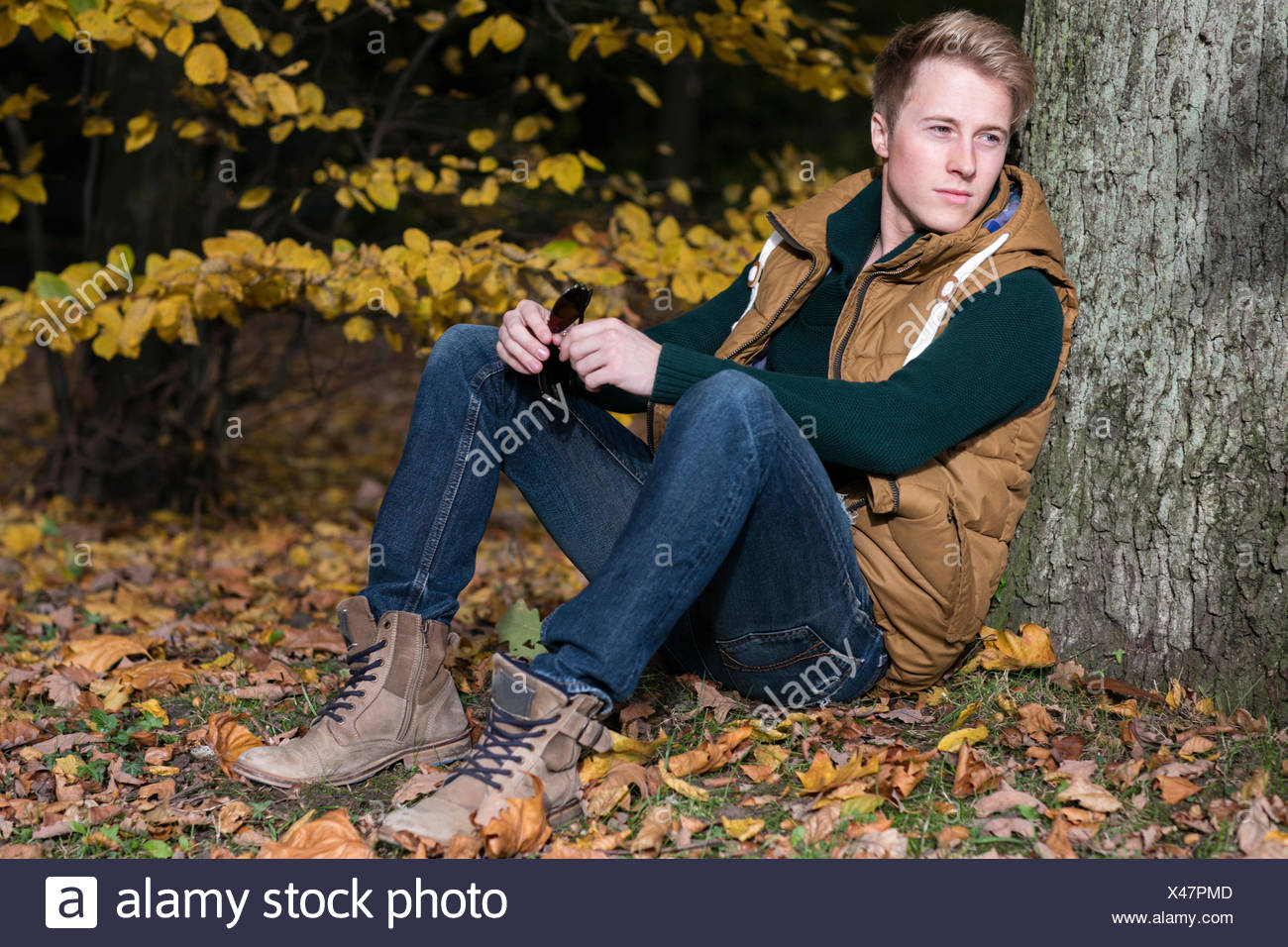 Young man sitting at tree in autumn - Stock Image