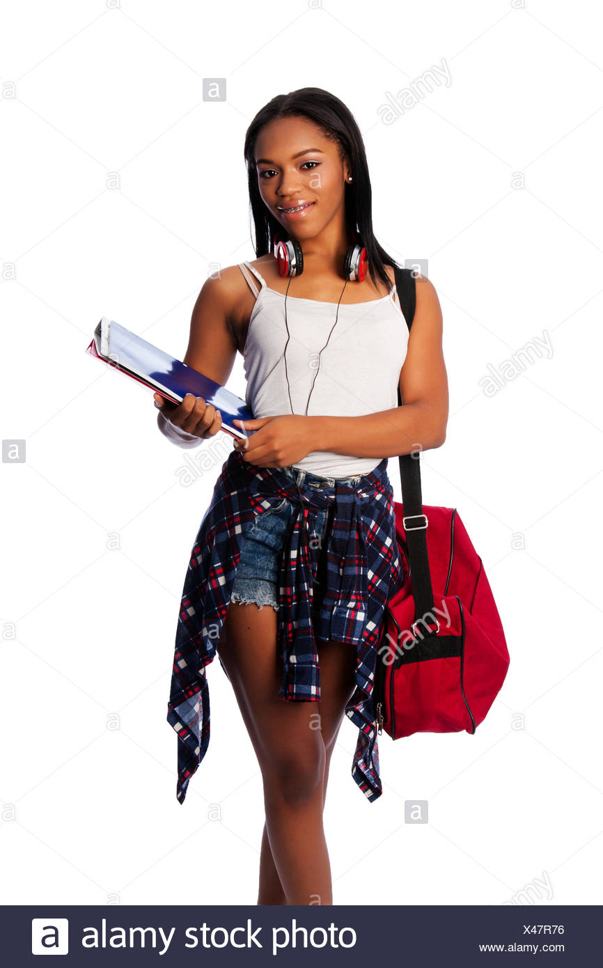 Happy student with binders and bag - Stock Image